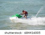 water ski at teluk bahang jetty ...   Shutterstock . vector #684416005