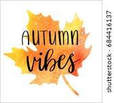 autumn vibes   hand lettering... | Shutterstock .eps vector #684416137