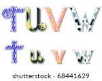 colorful 3d swirl tuvw letters...