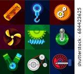 type of mechanism icons set ... | Shutterstock .eps vector #684423625