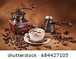 coffee still life with wooden... | Shutterstock . vector #684427105
