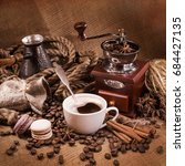 cup of coffee with cookies... | Shutterstock . vector #684427135