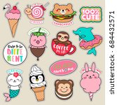 set of fashion girl patches ... | Shutterstock .eps vector #684432571
