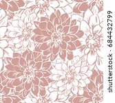 hand draw seamless floral... | Shutterstock . vector #684432799