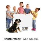 little children holding placard ... | Shutterstock . vector #684438451