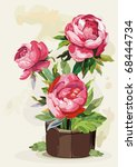 Flowers Peony In A Pot On Ligh...