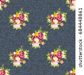 seamless floral pattern with... | Shutterstock .eps vector #684448861