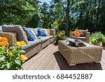 veranda of a house in a sunny... | Shutterstock . vector #684452887
