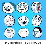 set of emotional stickers with... | Shutterstock .eps vector #684459805