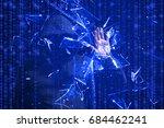 hooded hacker smashing the...   Shutterstock . vector #684462241