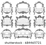 baroque furniture set with... | Shutterstock .eps vector #684465721