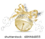 golden jingle bell with bow and ... | Shutterstock .eps vector #684466855