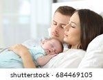 portrait of tired parents... | Shutterstock . vector #684469105