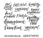 set of eco phrases. farm food ... | Shutterstock .eps vector #684474955