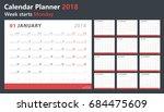 calendar planner 2018  week... | Shutterstock .eps vector #684475609