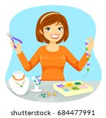 young woman making jewelry from ... | Shutterstock .eps vector #684477991