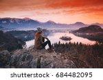 travel slovenia  europe. woman... | Shutterstock . vector #684482095