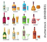 alcoholic drinks in bottles and ... | Shutterstock .eps vector #684484831