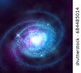 spiral galaxy in outer space...   Shutterstock .eps vector #684485014