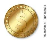 realistic 3d gold dollar vector ... | Shutterstock .eps vector #684485035