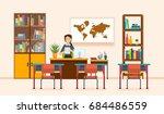interior of room for teacher.... | Shutterstock .eps vector #684486559