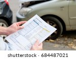 accident statement paper used... | Shutterstock . vector #684487021