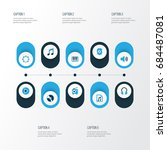 audio colorful icons set.... | Shutterstock .eps vector #684487081