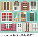 set of colorful windows with... | Shutterstock .eps vector #684493195