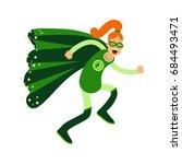 ecological superhero redhead... | Shutterstock .eps vector #684493471