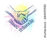 sketch of handshake. friendship ... | Shutterstock .eps vector #684495985