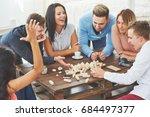 group of creative friends... | Shutterstock . vector #684497377