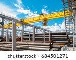 overhead cranes over railroad... | Shutterstock . vector #684501271