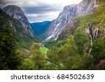 view on naeroydalen valley from ... | Shutterstock . vector #684502639