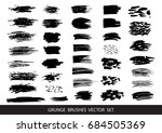 set of black paint  ink brush... | Shutterstock .eps vector #684505369