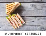club sandwich with bacon ... | Shutterstock . vector #684508135