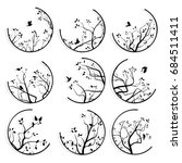 set of round icons stylized... | Shutterstock .eps vector #684511411