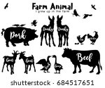 vector farm animals silhouettes ... | Shutterstock .eps vector #684517651