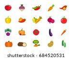 fresh vegetables icon set | Shutterstock .eps vector #684520531