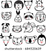 vector doodle cute animals in... | Shutterstock .eps vector #684520639