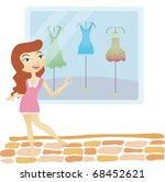 happy shopping with attractive... | Shutterstock .eps vector #68452621