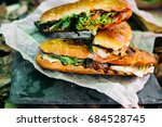 french bread with cheese and... | Shutterstock . vector #684528745