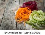 vegetable noodles   zucchini ...   Shutterstock . vector #684536401