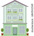 urban multi storey house with... | Shutterstock .eps vector #684541549