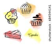 vector set of hand drawn tea... | Shutterstock .eps vector #684544141