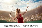 back view of a tennis player... | Shutterstock . vector #684545494
