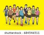 marathon runners  group of... | Shutterstock .eps vector #684546511