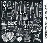 barbecue grill tools set ... | Shutterstock .eps vector #684553594