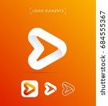 abstract origami arrow logo.... | Shutterstock .eps vector #684555367