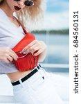 fashion young beautiful blonde... | Shutterstock . vector #684560131