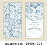 wedding invitation card ethnic... | Shutterstock .eps vector #684564325